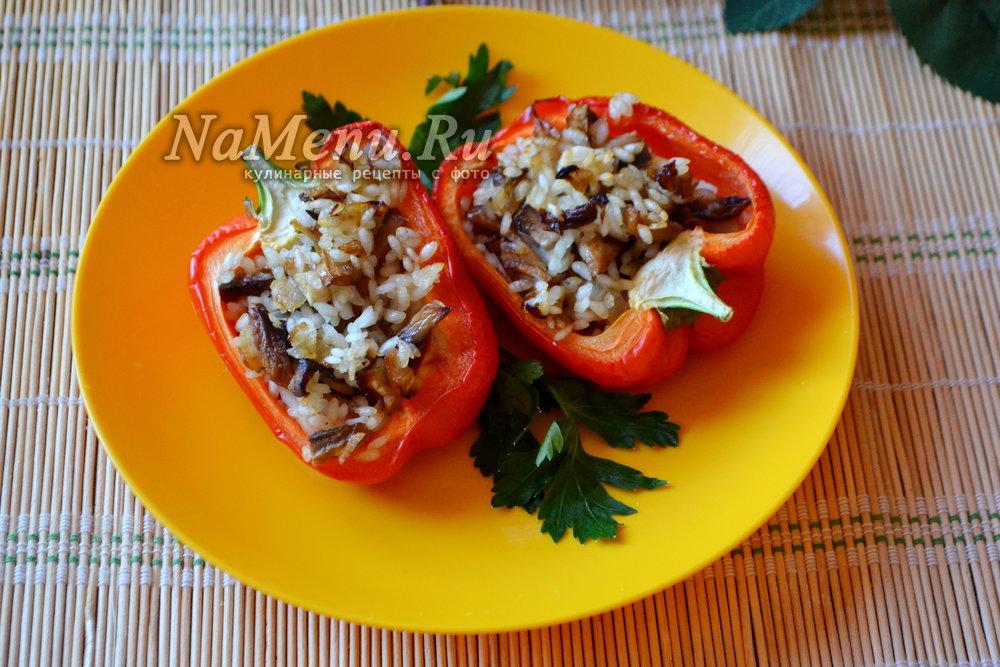 Перцы фаршированные грибами рисом — photo 6