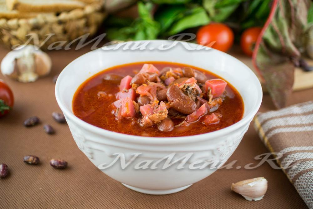 Рецепт постный борщ с фасолью и килькой в томате