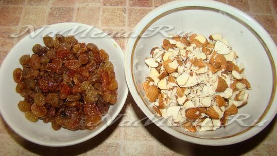 Берем изюм и орехи