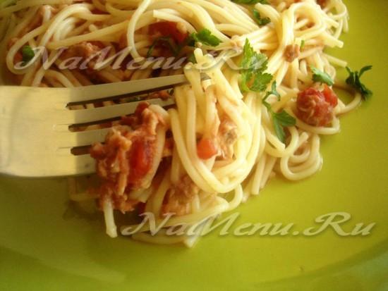 рецепт пасты с помидорами и тунцом