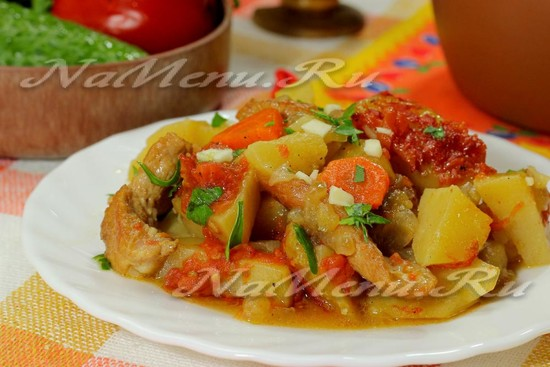 рецепт праздничной картошки с мясом в горшочке