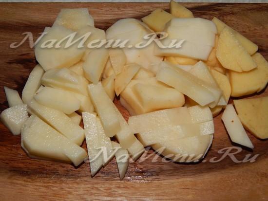 картофель очистить и нарезать