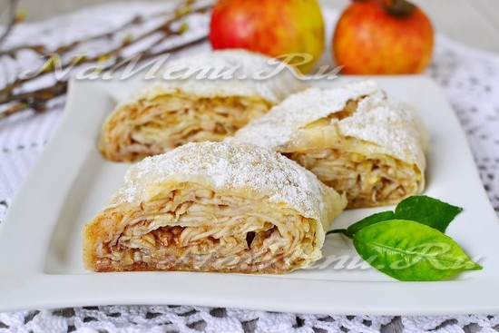 рецепт штруделя с яблоками из лаваша