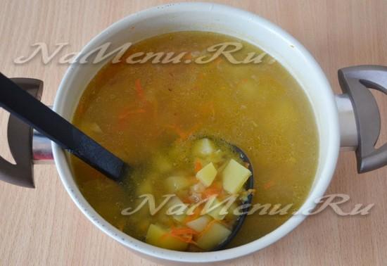 Перемешиваем суп