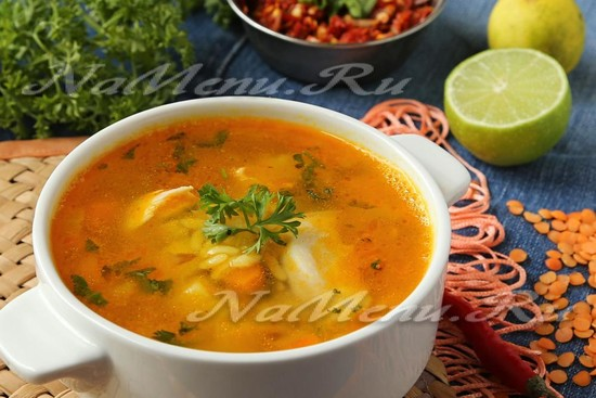 рецепт супа с курицей, рисом, чечевицей и овощами