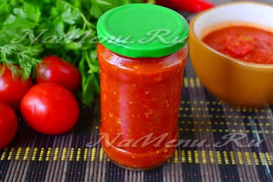 рецепт аджики из помидор и чеснока на зиму с варкой