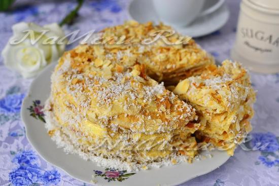 рецепт торта наполеон из готового столеного теста