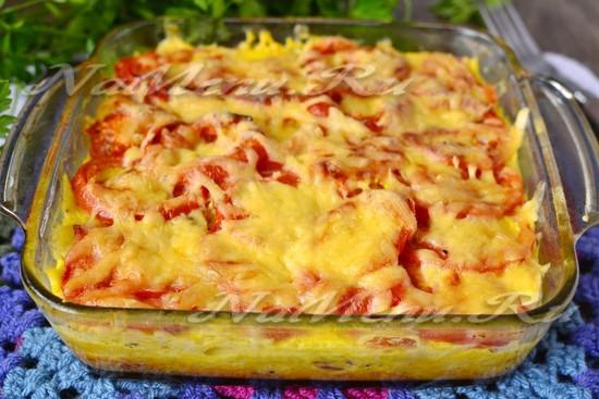 рецепт запеканки из макарон с колбасой и сыром в духовке