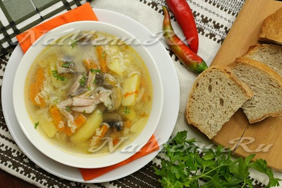 Суп с курицей, грибами и рисом: рецепт с фото