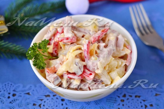 Рецепт салата с ананасом и ветчиной