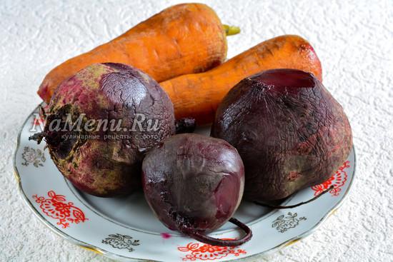 Сварить морковку и свеклу