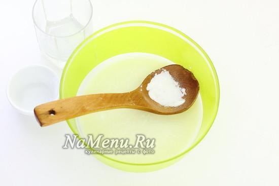 соединить кефир и соду