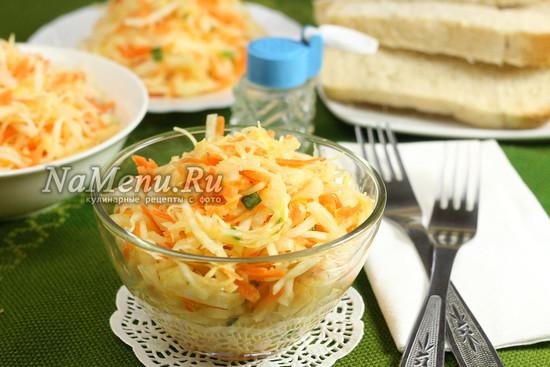 салат из свежей капусты и моркови с уксусом