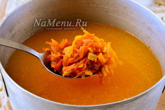 Добавить овощи в суп