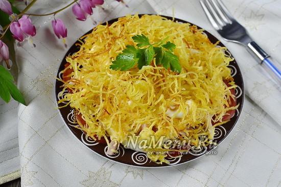 салат Блондинка с жареной картошкой