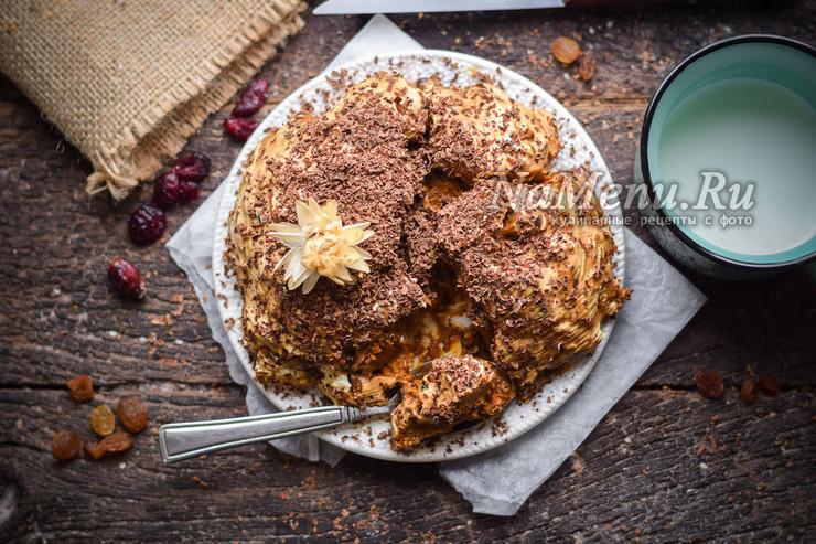 Торт из пряников без выпечки со сгущенкой