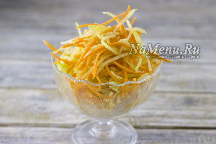 Салат из зелёной редьки с морковью
