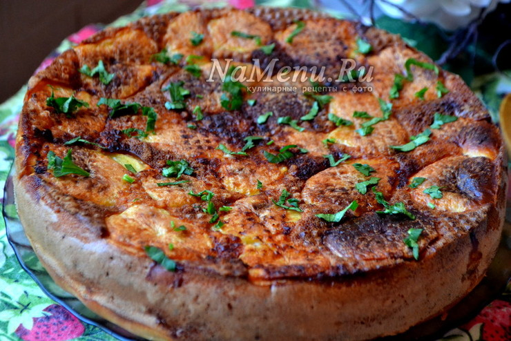 Быстрый пирог с рыбой и картошкой