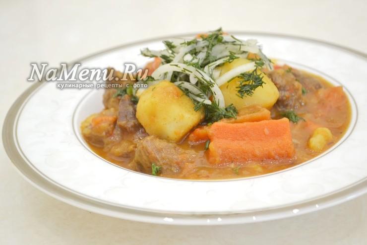 Рагу из говядины с овощами и картофелем