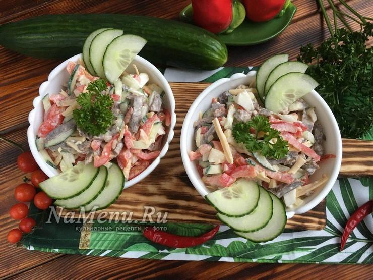 Салат Бахор с говядиной и овощами без майонеза