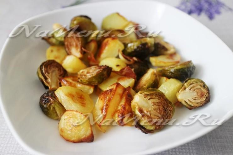 Брюссельская капуста в духовке с ветчиной и картофелем