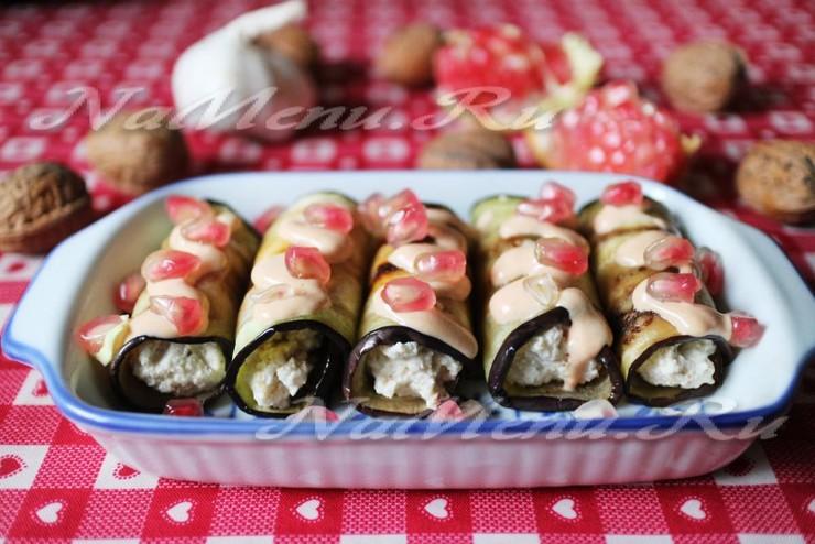 Рулетики из баклажана с моцареллой и грецкими орехами