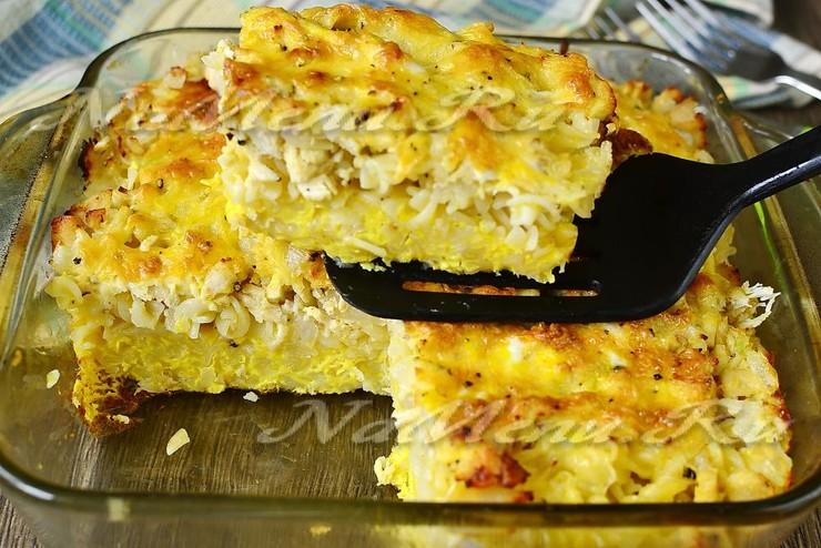 Запеканка из макарон с курицей в духовке