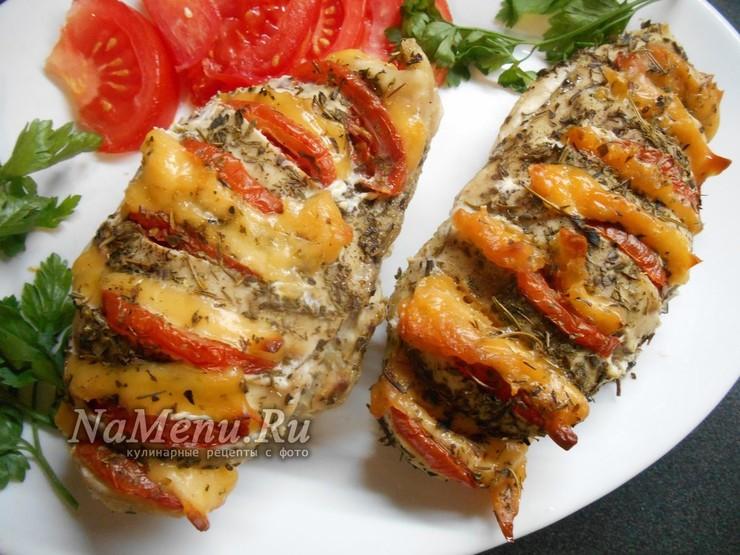 Запеченное филе по-провански с сыром и помидорами