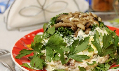 Салат Грибная поляна с опятами: пошаговый рецепт с фото